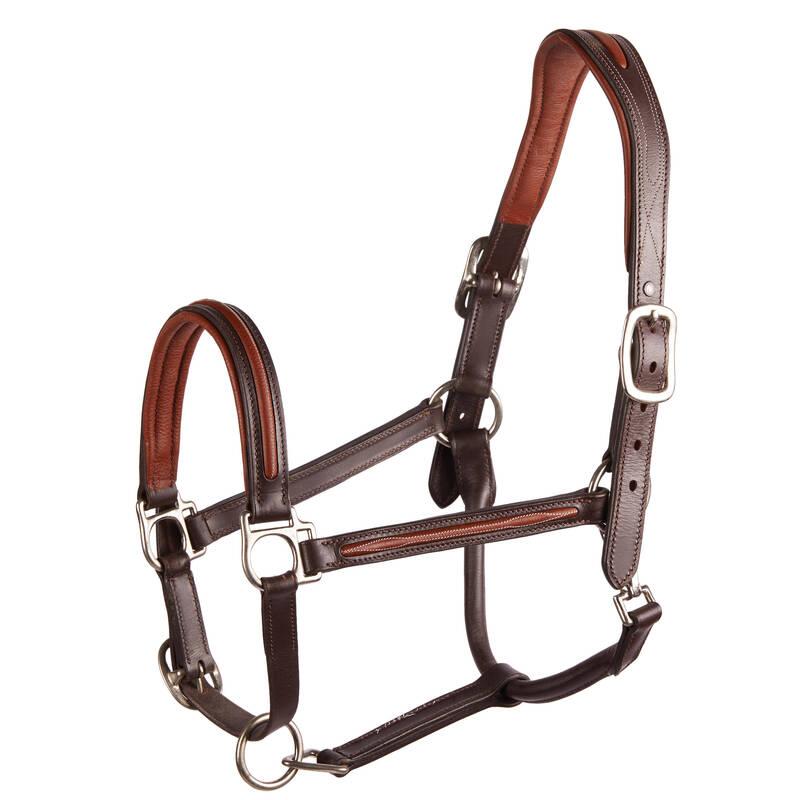 OHLÁVKY NEBO LONŽE Jezdectví - KOŽENÁ OHLÁVKA 900 HNĚDÁ FOUGANZA - Péče o koně