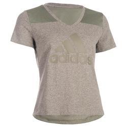 Dames T-shirt Adidas Douari 500 voor gym en stretching regular fit kaki