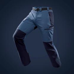 男款登山健行長褲TREK 500-藍色