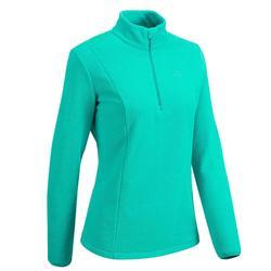 女款登山健行刷毛外套MH100—藍色