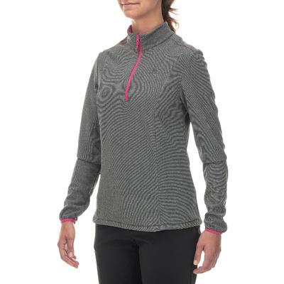 חולצת טיולים מפליז לנשים דגם MH100 - פסי אפור