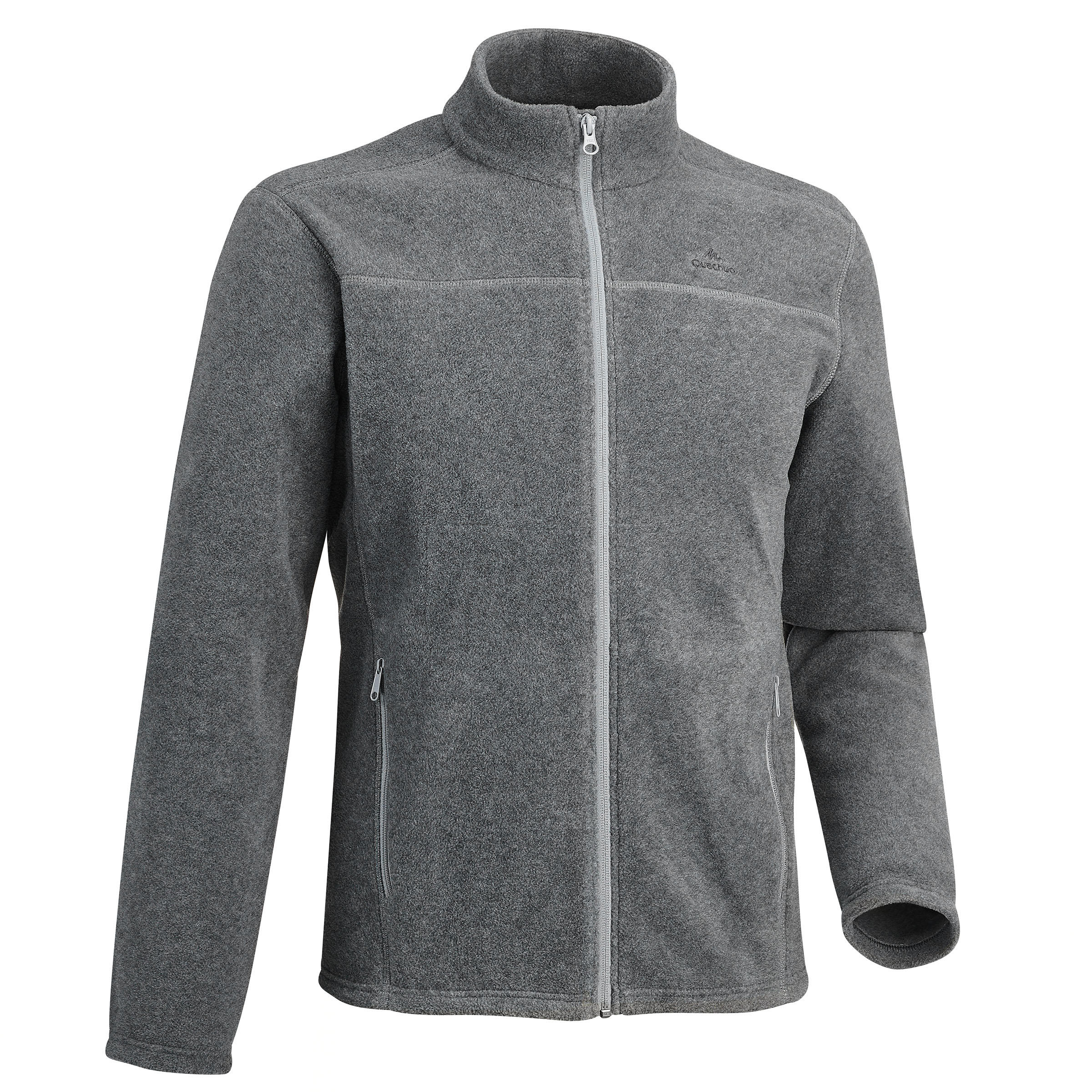 MH120 Men's Mountain Hiking Fleece Jacket - Mottled Grey