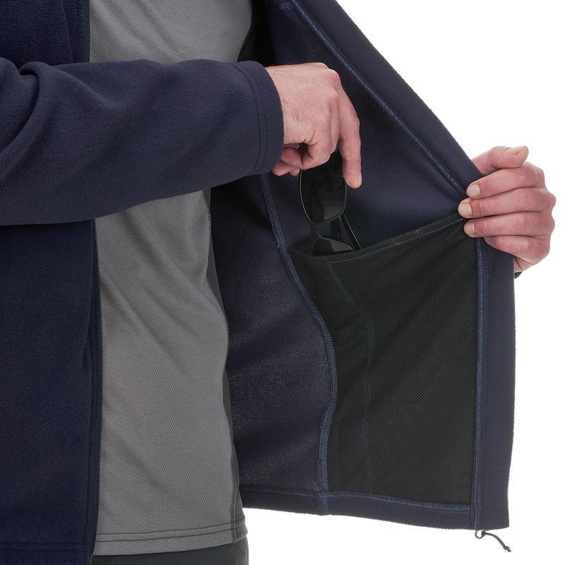 เสื้อแจ็คเก็ตผ้าฟลีซสำหรับใส่เดินป่าบนภูเขารุ่น MH120 (สีกรมท่า)