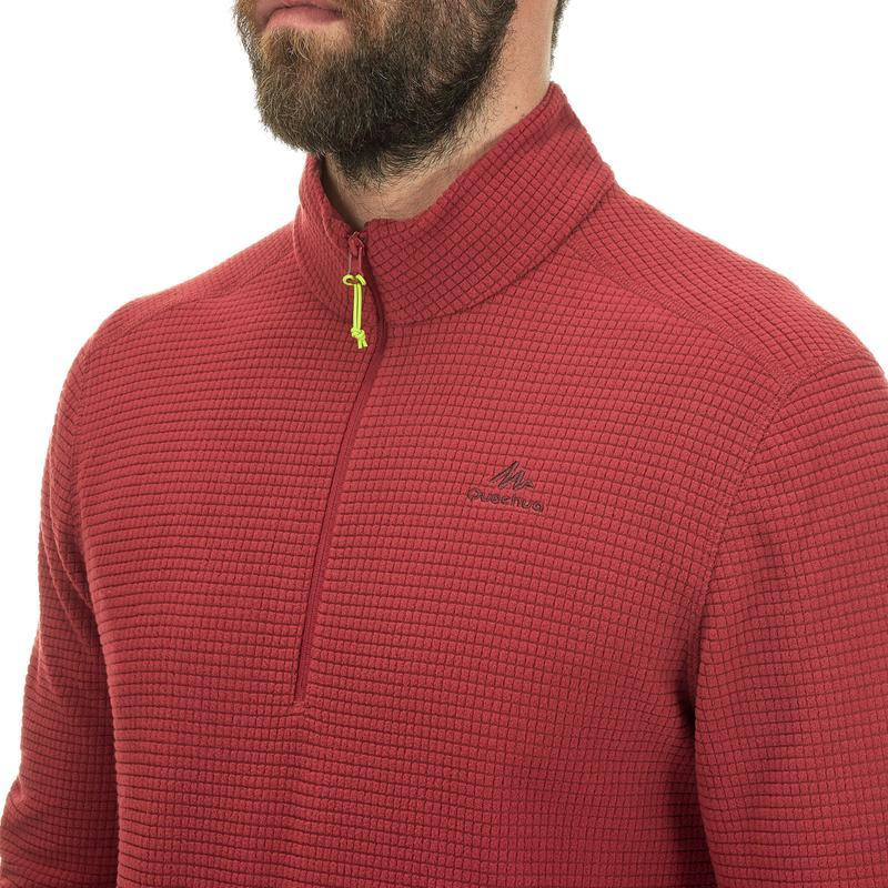 เสื้อผ้าฟลีซผู้ชายสำหรับใส่เดินป่าบนภูเขารุ่น MH500 (สีแดง Burgundy)