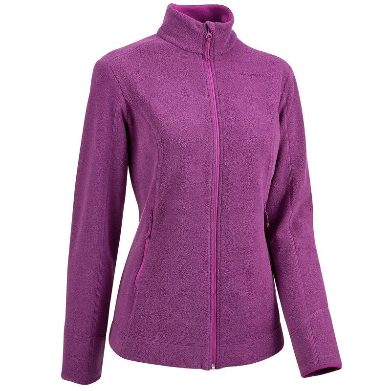 Fleece jas voor bergwandelen dames MH120 pruim