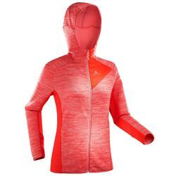 女款登山健行刷毛外套MH920-綠色/粉紅色