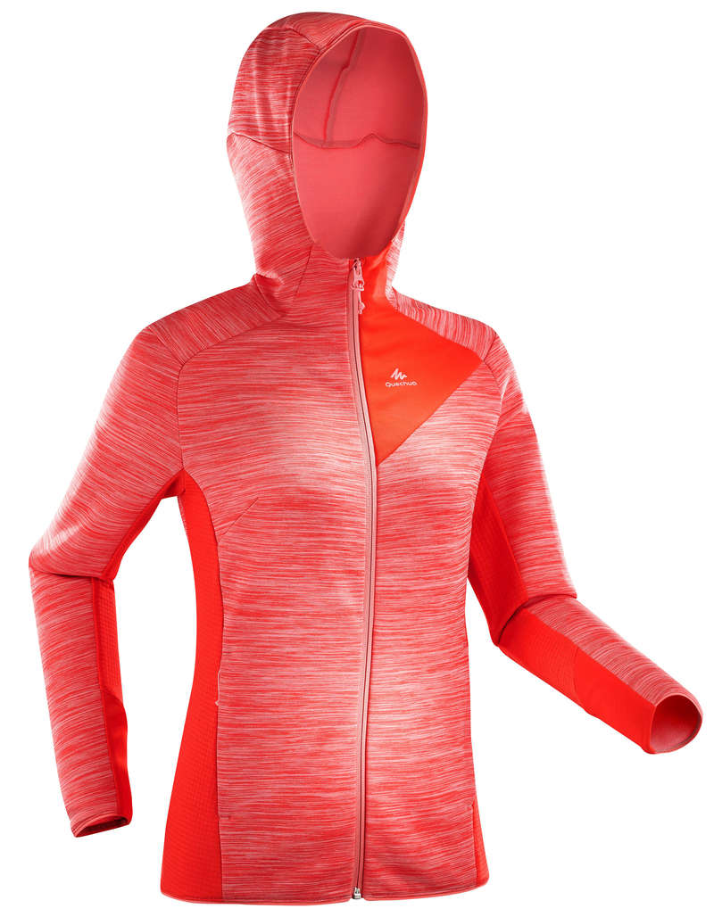 WOMEN MOUNT HIKING FLEECES Hiking - MH900 W Fleece - Green/Pink QUECHUA - Hiking Clothes