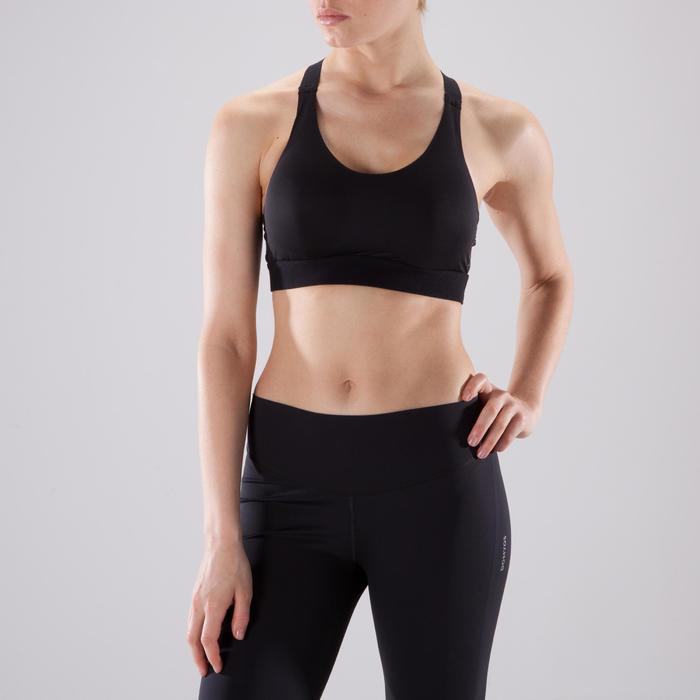 Brassière fitness cardio femme imprimés géométriques noirs 500 Domyos - 1501034