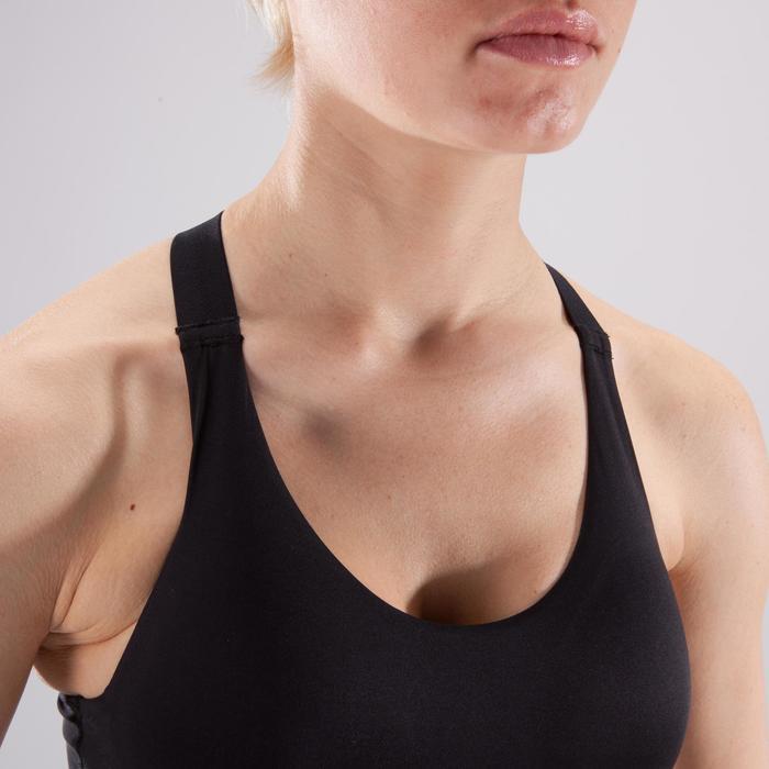 Brassière fitness cardio femme imprimés géométriques noirs 500 Domyos - 1501035