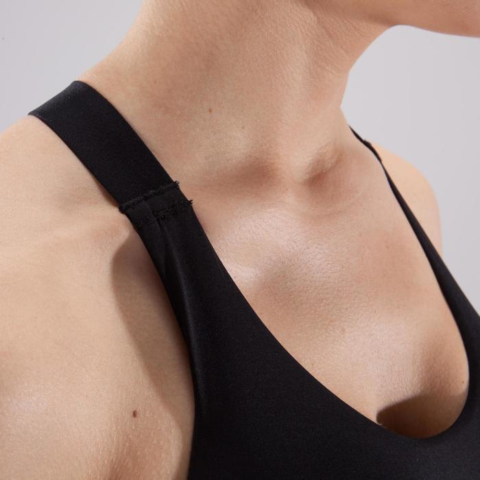 Brassière fitness cardio femme imprimés géométriques noirs 500 Domyos - 1501037