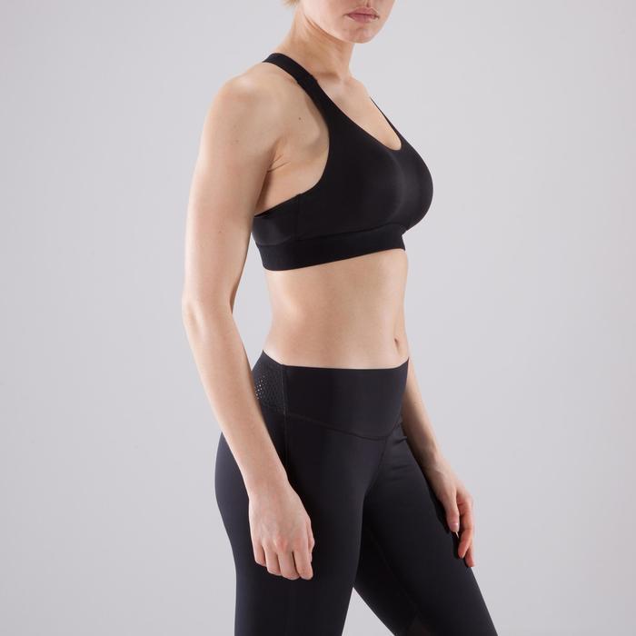 Brassière fitness cardio femme imprimés géométriques noirs 500 Domyos - 1501038