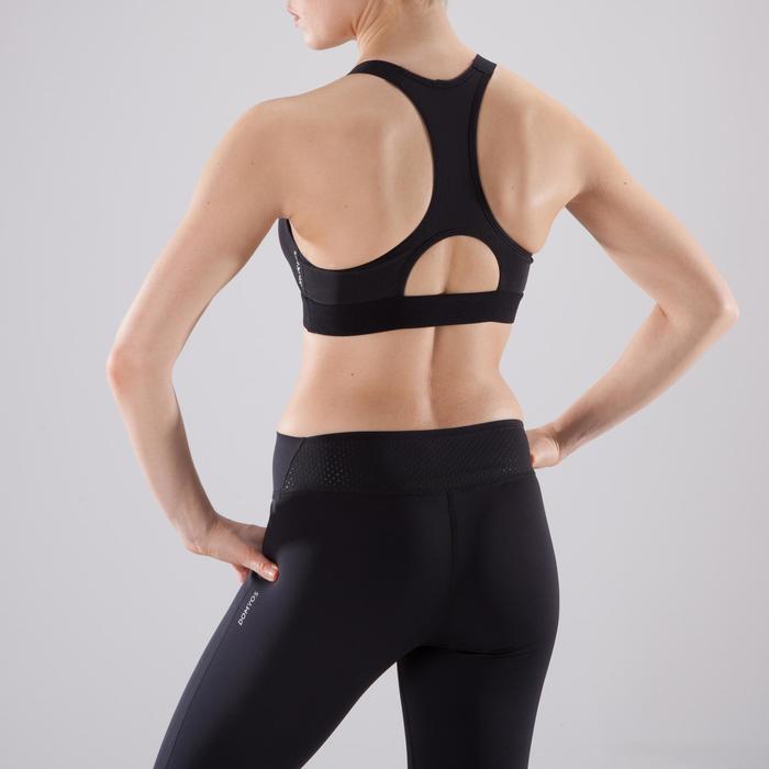 Brassière fitness cardio femme imprimés géométriques noirs 500 Domyos - 1501039