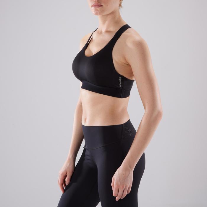 Brassière fitness cardio femme imprimés géométriques noirs 500 Domyos - 1501040