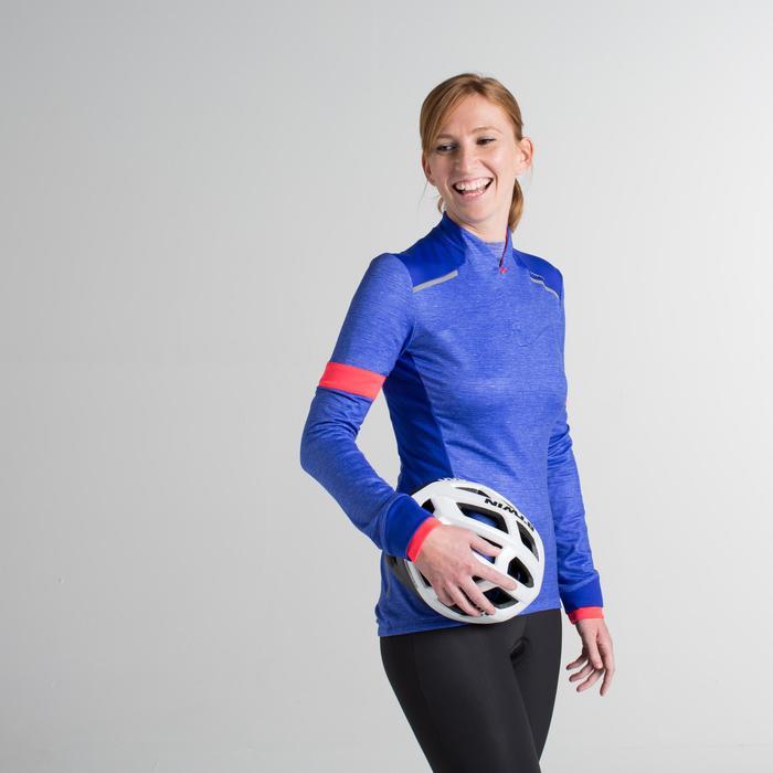 Maillot manches longues vélo route femme 500 bleu rose
