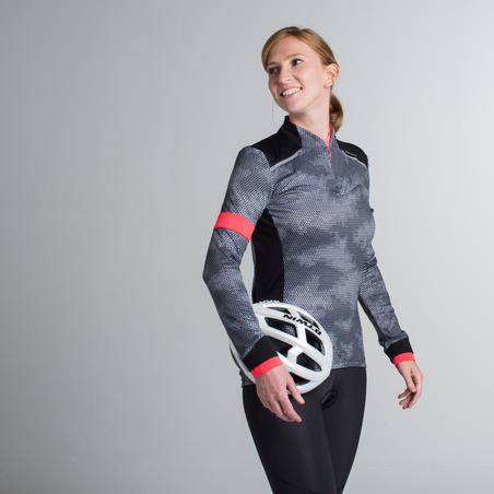 500 Women's Long-Sleeved Road Cycling Jersey - Black/Pink