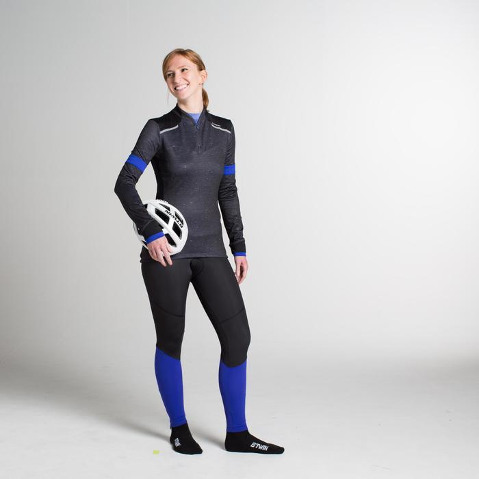 Langarm-Fahrradtrikot 500 Damen schwarz/blau