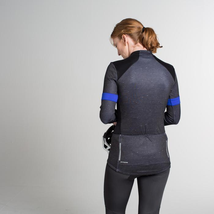Maillot manches longues vélo route femme 500 noir bleu
