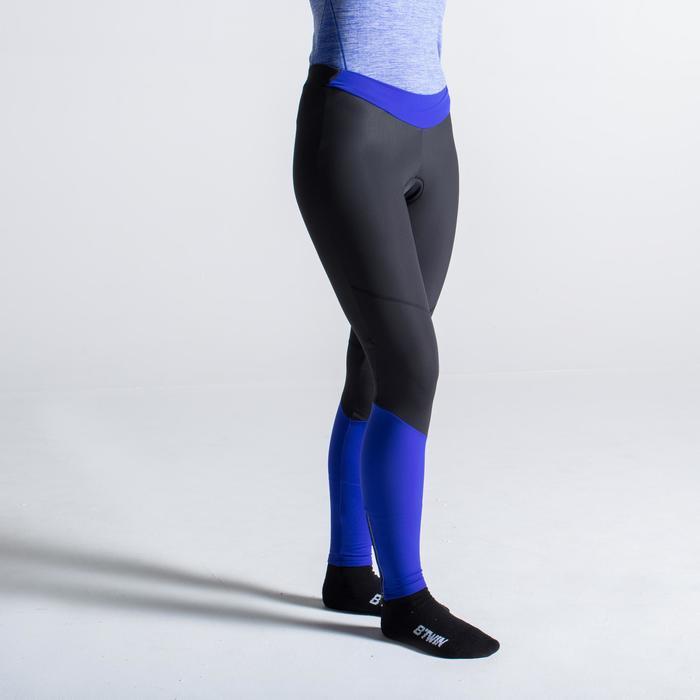 Lange Radhose 500 Damen schwarz/blau