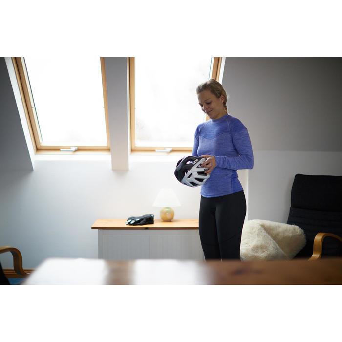 Fahrrad-Unterwäsche Langarm-Funktionsshirt 500 Damen blau