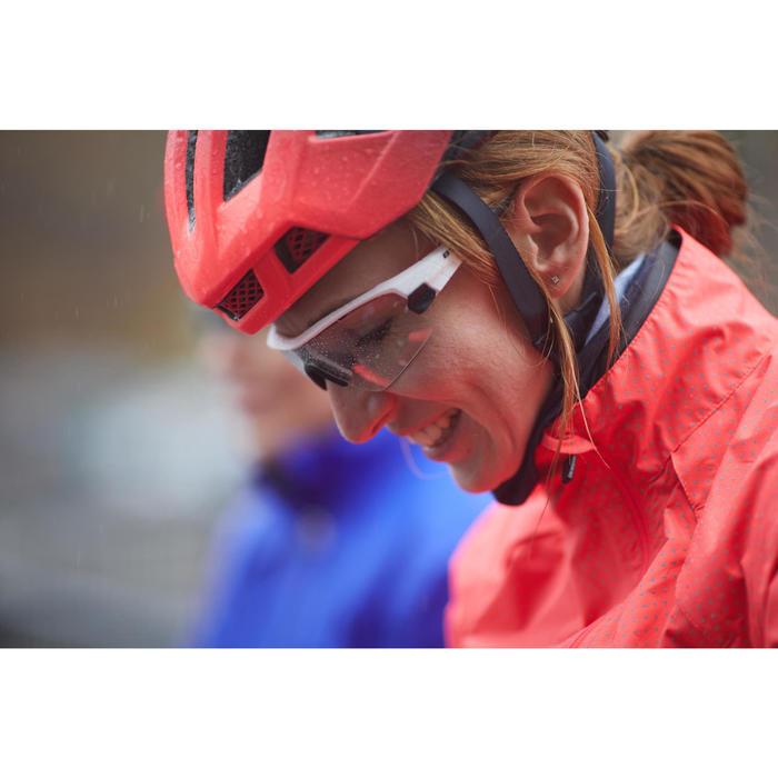 Veste coupe pluie vélo femme 500 rose triangles réflectifs