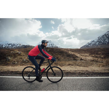 Lange fietsbroek 500 met bretels voor heren koud weer marineblauw