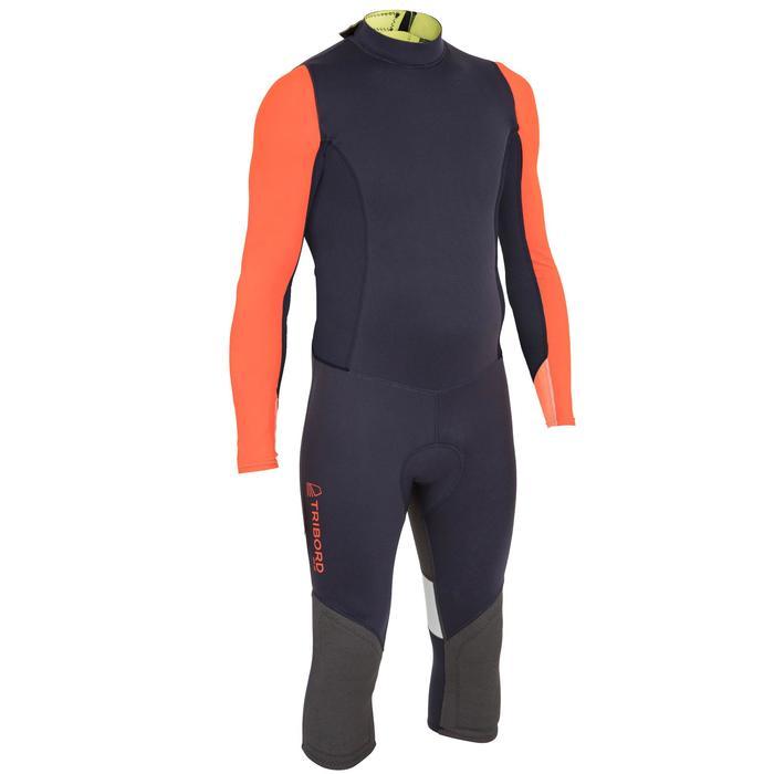 Uv-werende wetsuit voor heren, zwaardboot/catamaran, neopreen 1 mm zwart/oranje