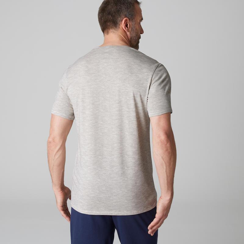 T-shirt 500 regular Gym Stretching homme beige AOP