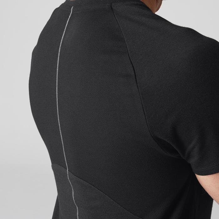 Camiseta Manga Corta Gimnasia Pilates Domyos 900 Slim Cuello Pico Hombre Negro
