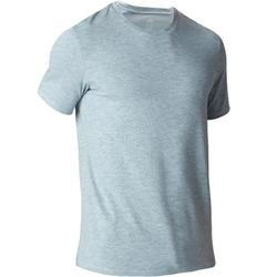 T-shirt 500 regular fit gym en stretching heren lichtblauw AOP