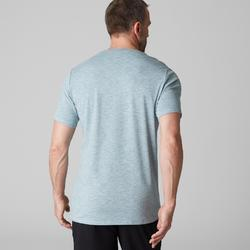 T-shirt 500 regular Gym Stretching homme bleu clair AOP