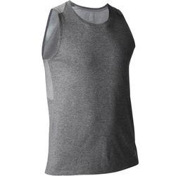 Camiseta Sin Mangas Gimnasia Pilates Domyos 900 Slim Hombre Gris Oscuro