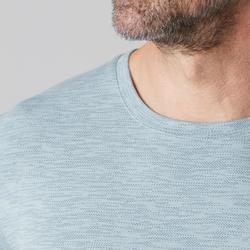 T-Shirt 500 Regular Gym Stretching Herren hellblau