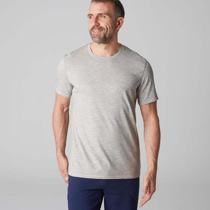 Camiseta Manga Corta Gimnasia Pilates Domyos 500 Hombre Beige Claro Algodón