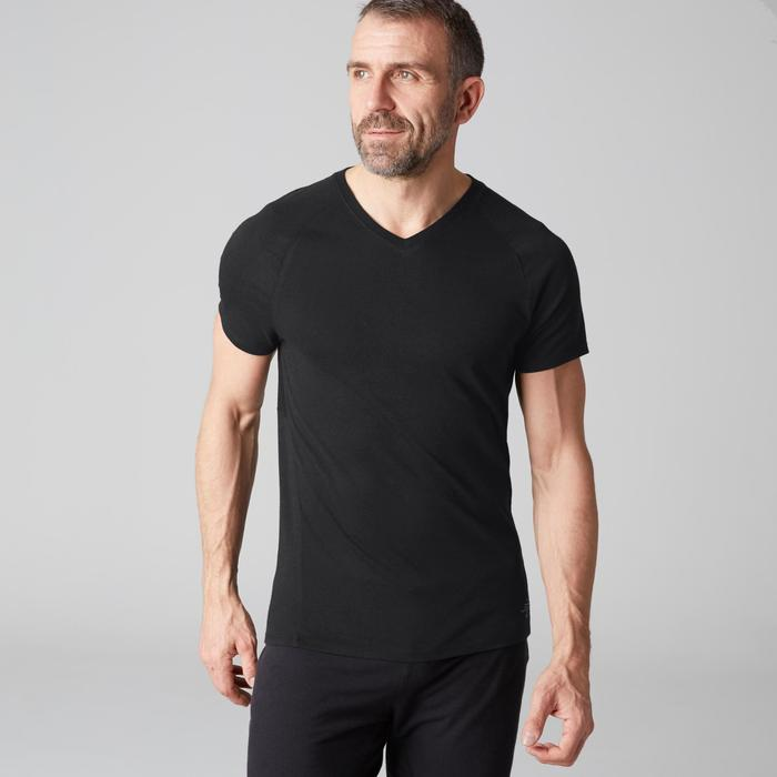 T-shirt 900 col V slim Gym Stretching & Pilates noir homme
