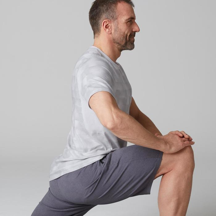 T-shirt 520 regular col rond Gym Stretching blanc AOP homme