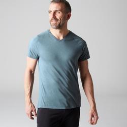Camiseta Manga Corta Gimnasia Pilates Domyos 900 Slim Cuello Pico Hombre Azul