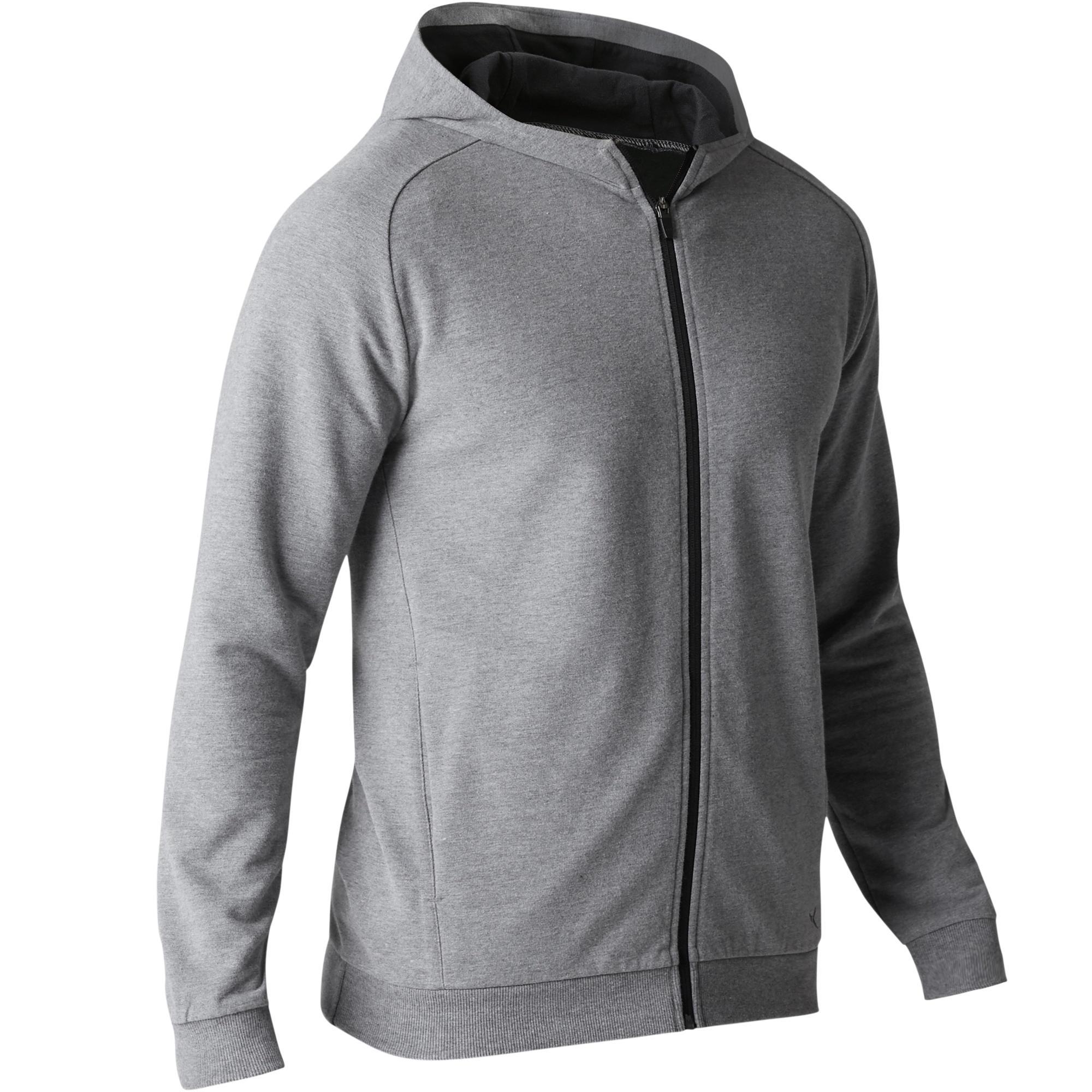 Veste 500 capuche gymnastique d'étirement homme gris clair