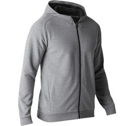 Veste 500 capuche Gym Stretching homme gris clair