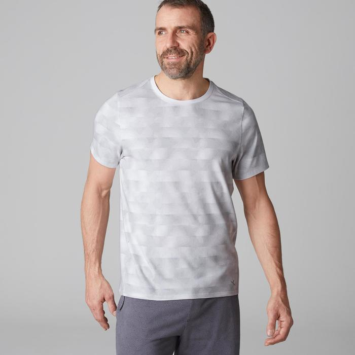 T-shirt 520 regular col rond Gym Stretching blanc AOP homme