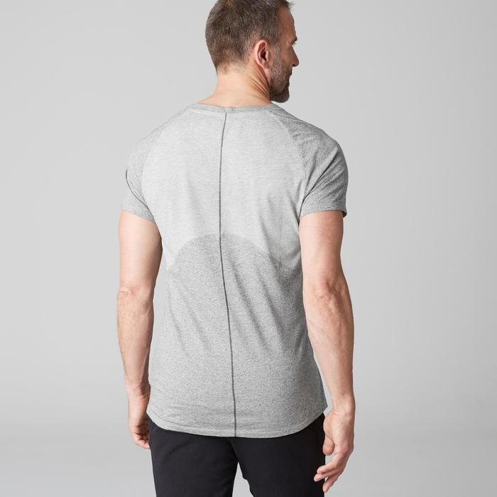 Heren T-shirt 900 voor gym stretching en pilates met V-hals slim fit grijs