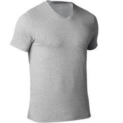 Camiseta 500 cuello de pico slim Pilates y Gimnasia suave hombre gris claro