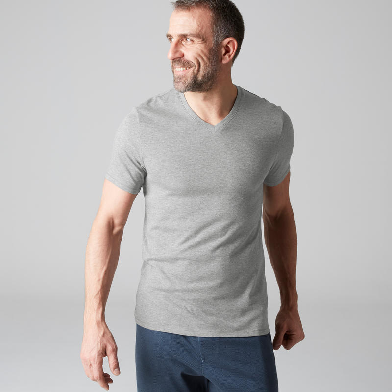 500 Slim-Fit V-Neck Pilates & Gentle Gym T-Shirt - Light Grey
