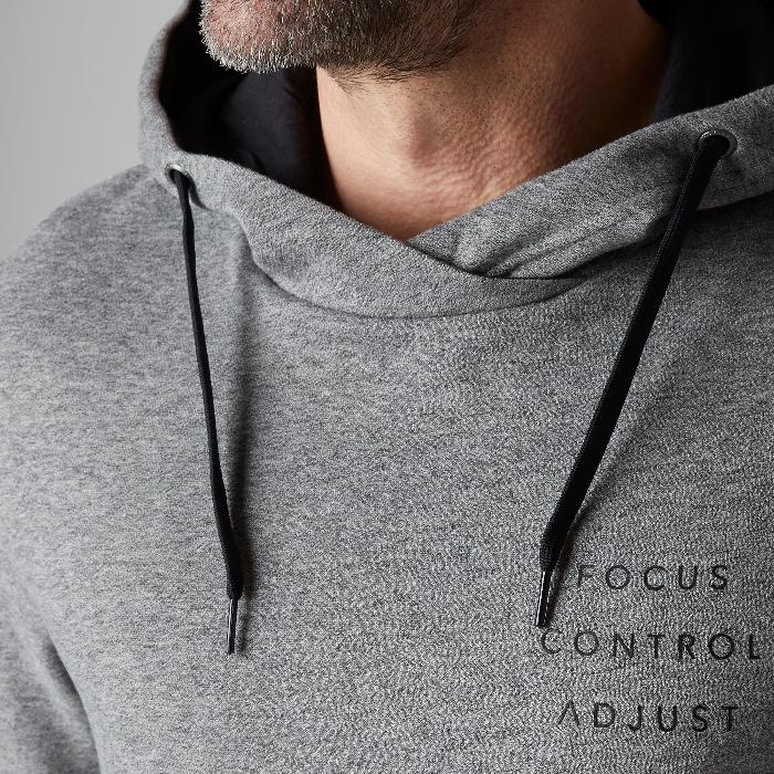 Sweat 900 capuche Gym Stretching homme gris clair
