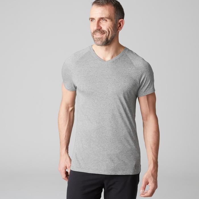 T-shirt 900 col V slim Gym Stretching & Pilates homme gris