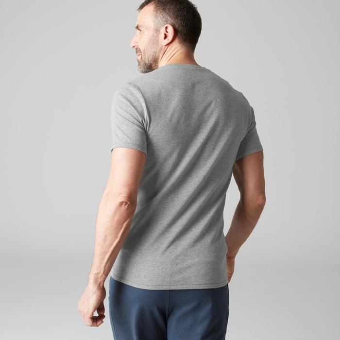 T-shirt 500 col V slim Pilates Gym douce homme gris clair