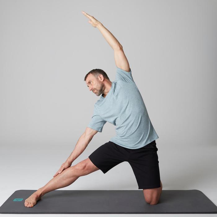 T-shirt 500 regular fit gym en stretching heren lichtblauw AOP