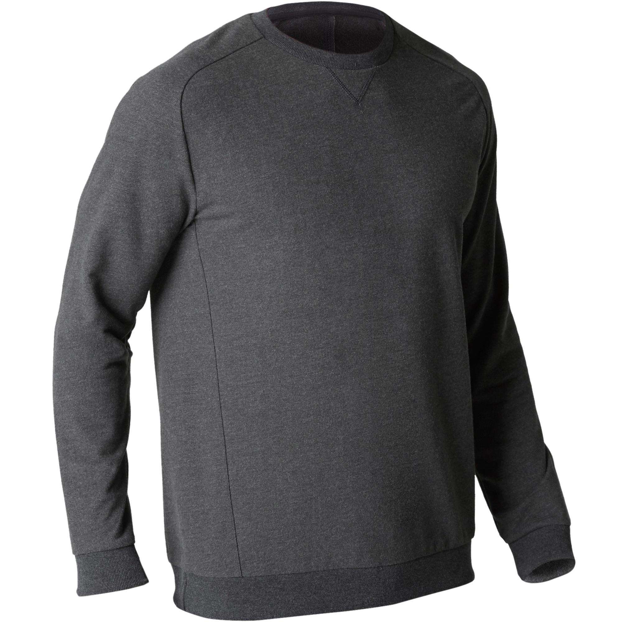 Copaya Herensweater 500 voor gym en stretching donkergrijs