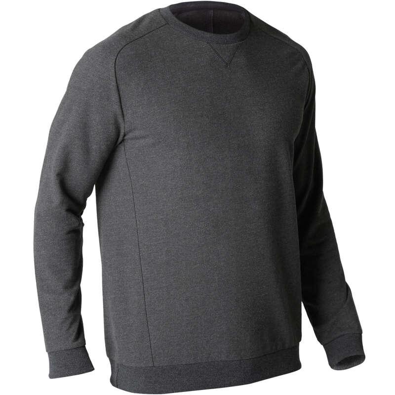 MAN GYM, PILATES COLD WEATHER APPAREL Pilates - 500 Gym Sweatshirt - Dark Grey DOMYOS - Pilates Clothes