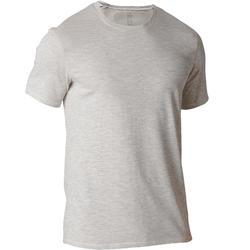 Heren T-shirt 500 voor gym en stretching regular fit beige AOP
