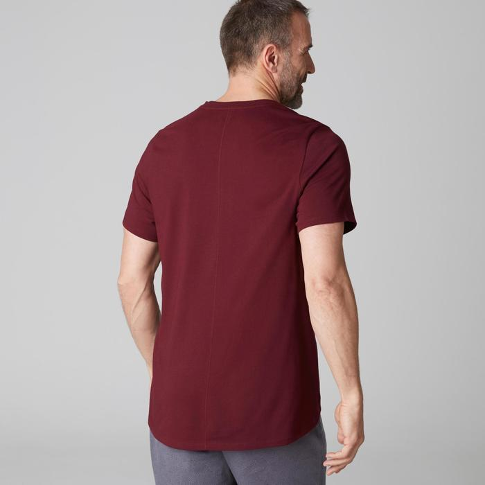 T-shirt 520 col V regular Gym Stretching homme bordeaux print